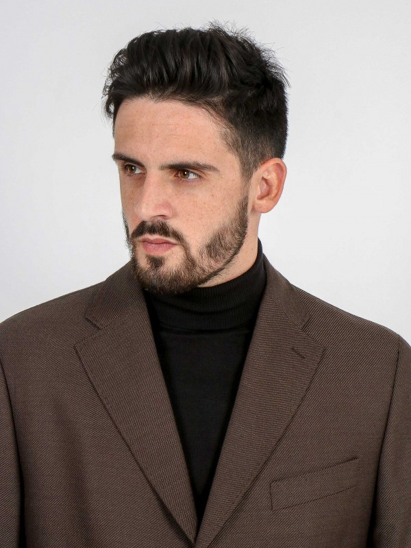Wool overcoat with pattern