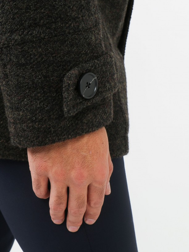 Abrigo de lana con capucha