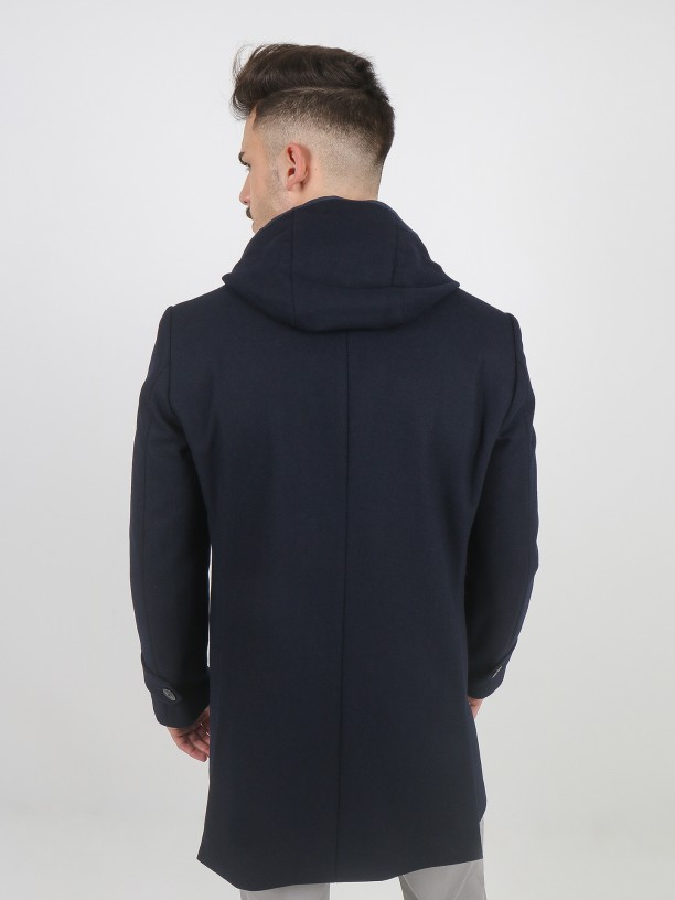 Wool anorak with removable detail