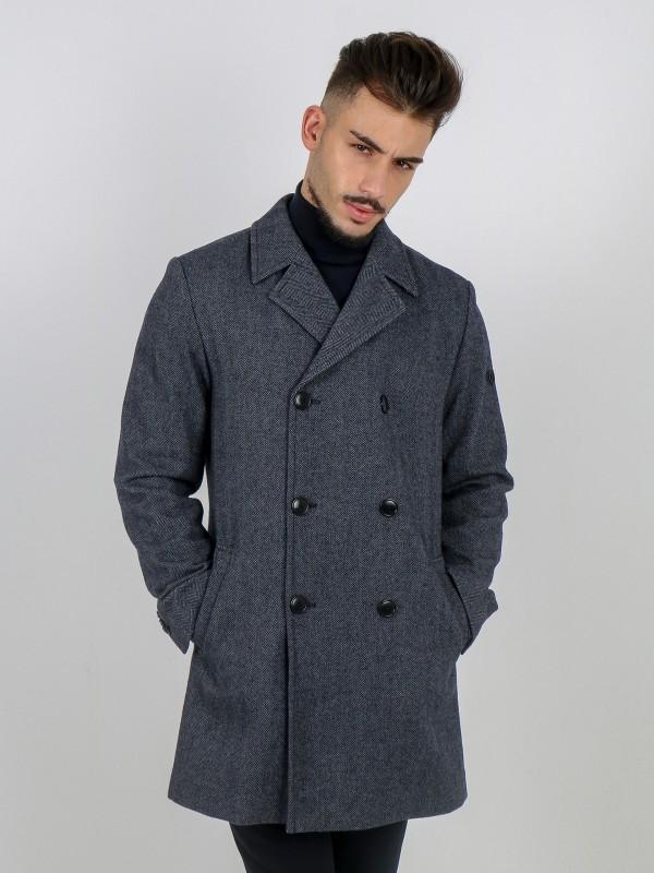 Casaco cruzado de lã com padrão