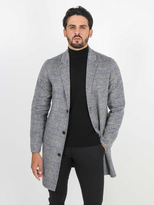 Handmade wool plaid pattern overcoat