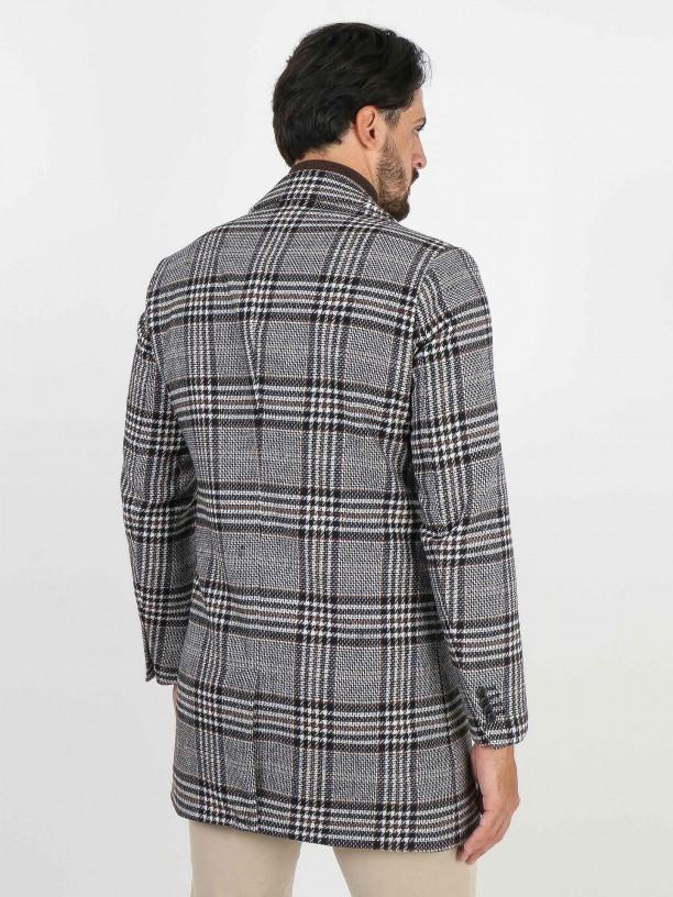 Wool plaid pattern overcoat