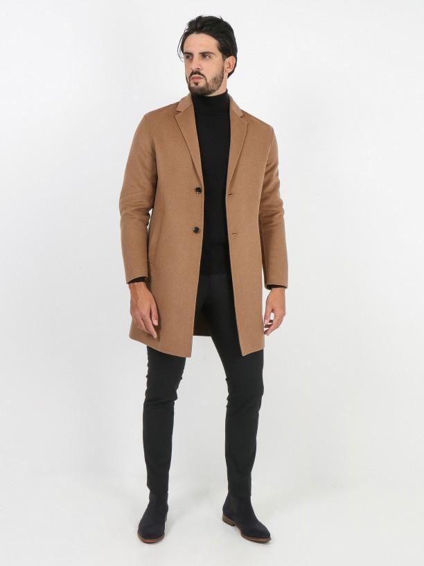 Handmade slim wool overcoat