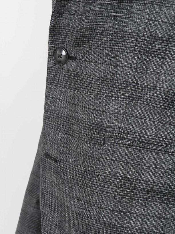 Slim fit wool plaid pattern suit