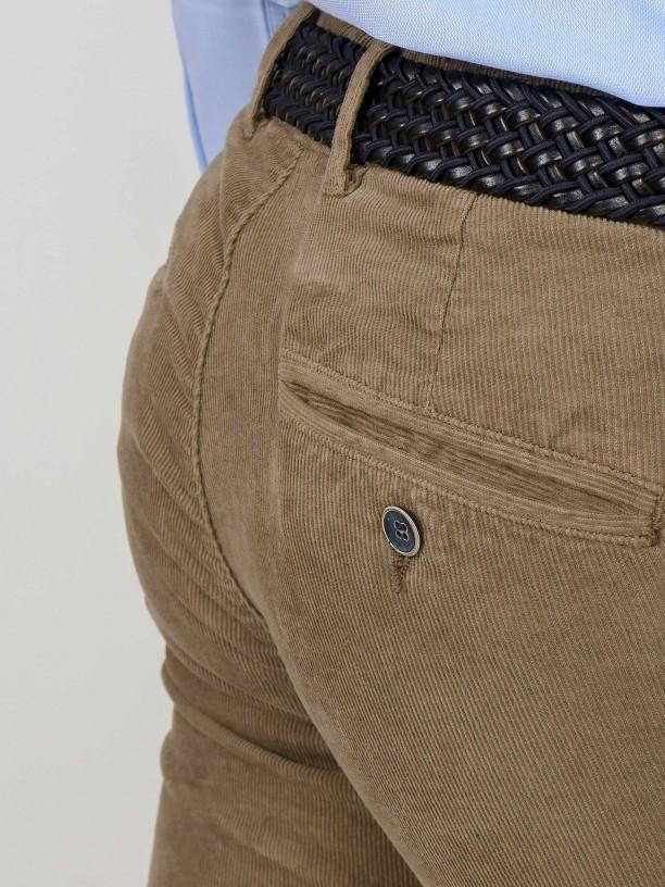 Slim fit corduroy denim-effect trousers