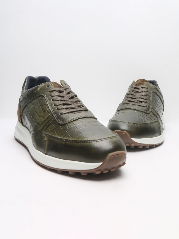 Combined leather sneakers with pattern