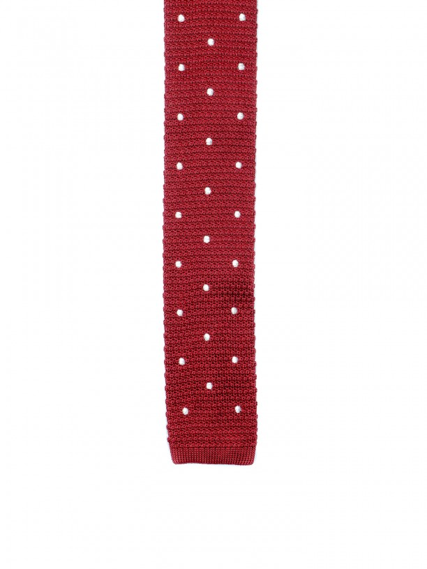 Dots pattern handmade knitted tie