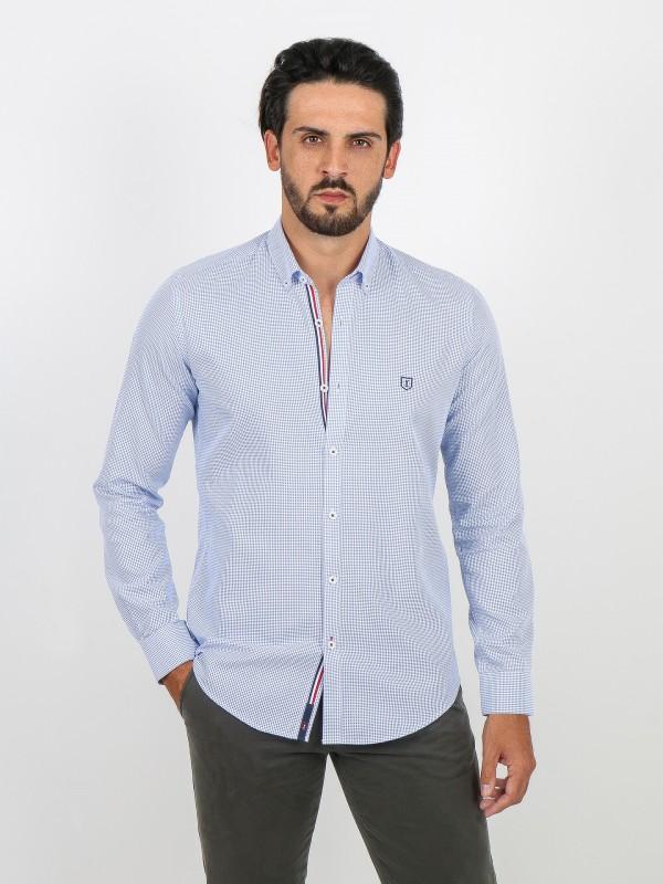 Camisa de algodão com micro padrão